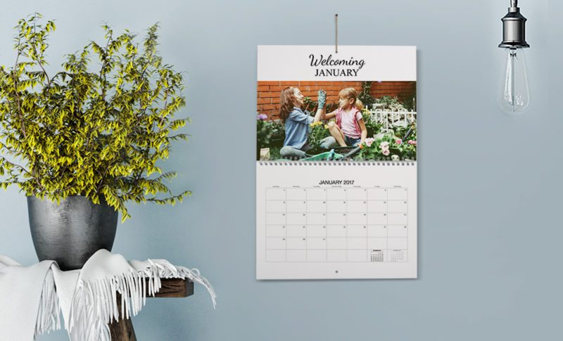 Photobook Worldwide customixable Calendar showing the month of January