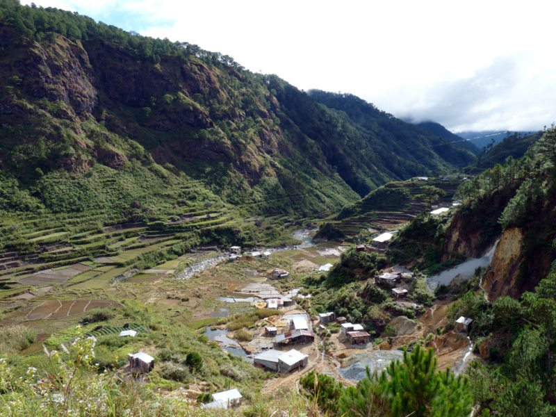 View of the beautiful valley and rice terraces in Sagada