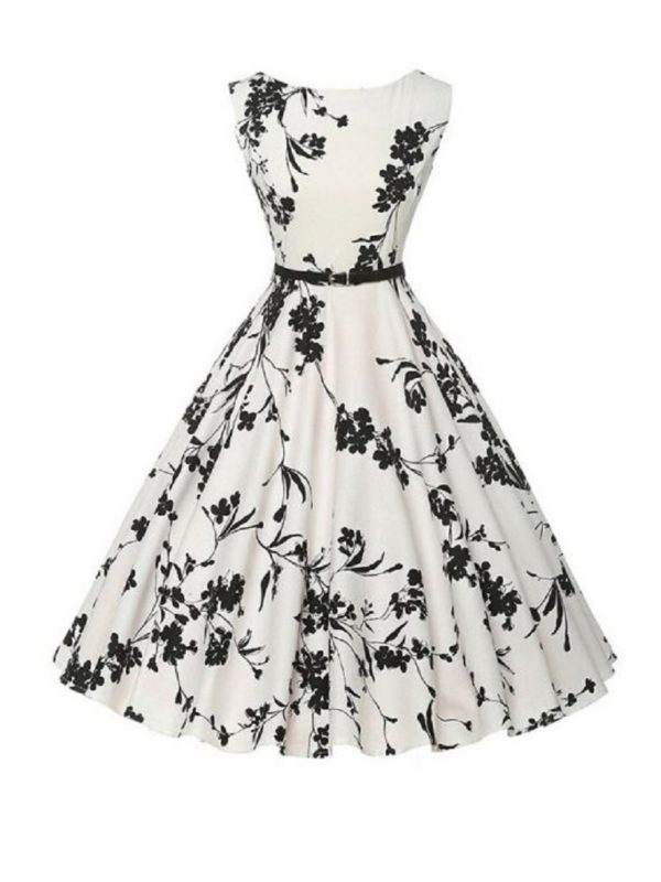 Retro sleeveless black and white dress