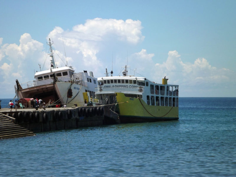 Camotes Islands pier with boats