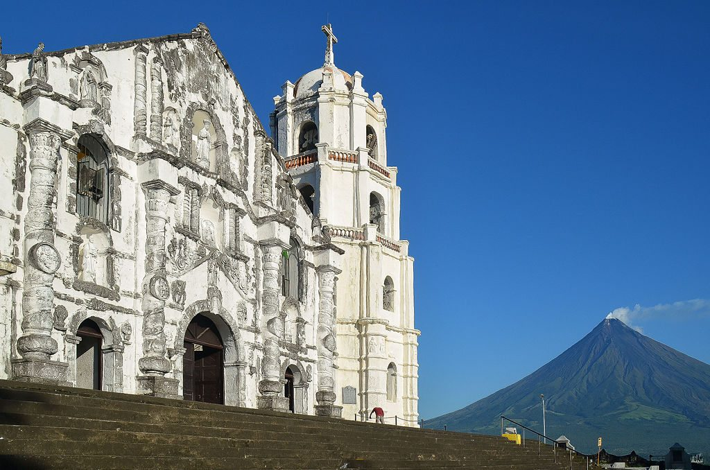 The beautiful Daraga Church with the Mayon Volcano at the background.