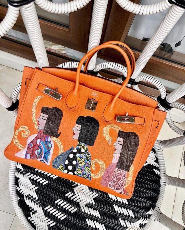 hand-painted hermes bags by heart evangelista