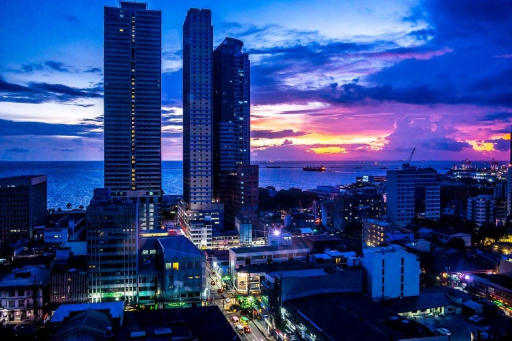 Manila city view after sunset