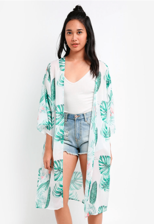 Long summery kimono that is great when used as a beach cover up