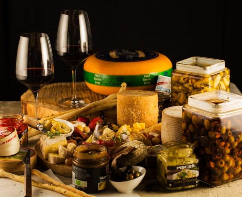 selection of cheeses with wine from Sofitel Manila