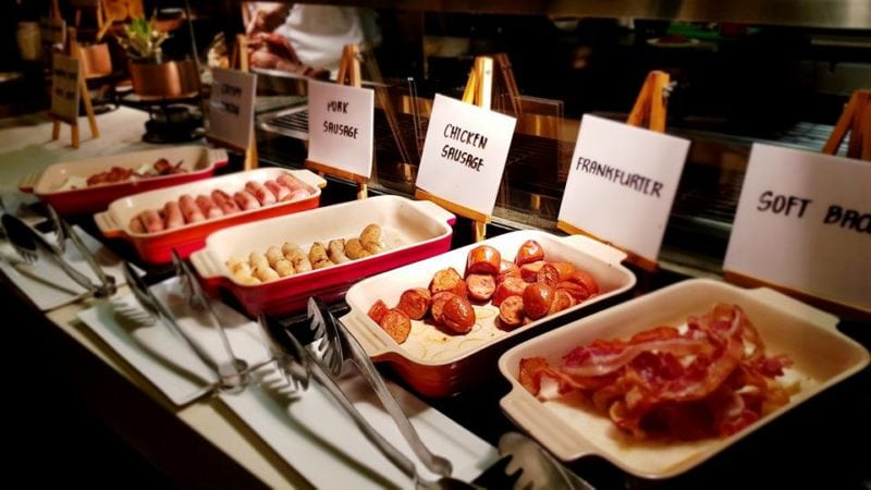 selection of pork sausages and bacon at Hyatt Manila