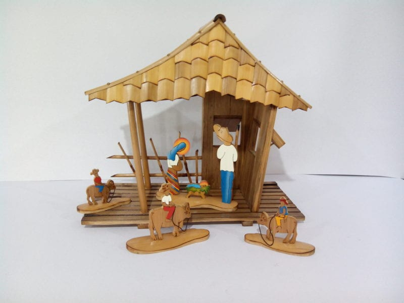 Bamboo nativity scene