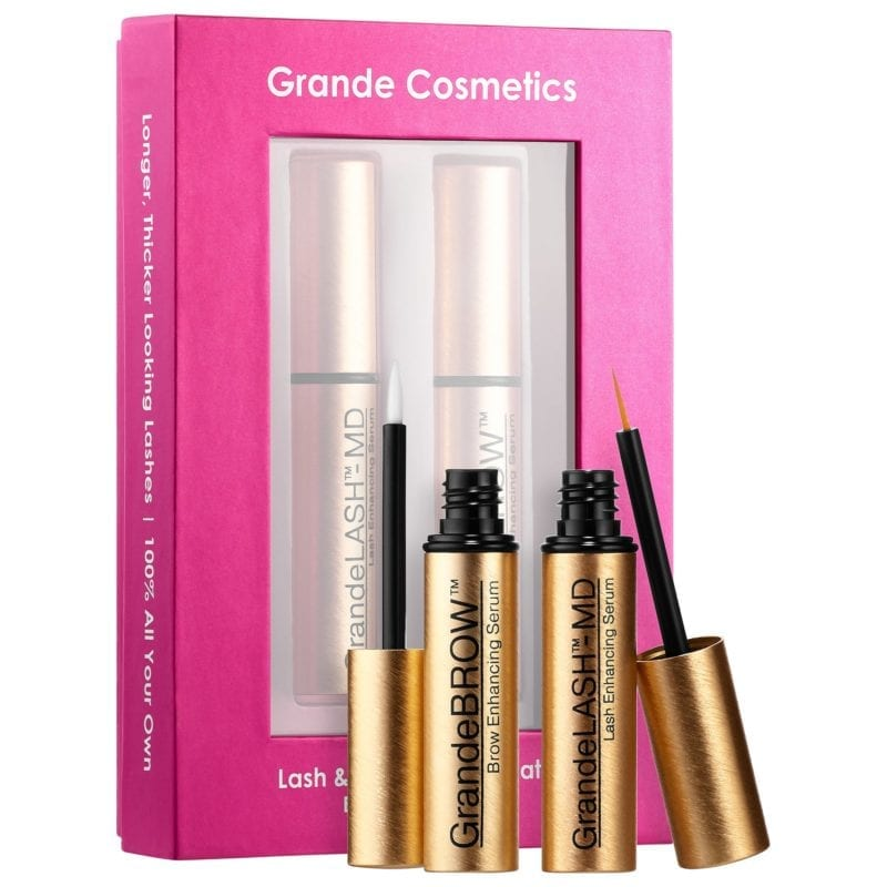 GrandeLash eyelash serum set with pink box