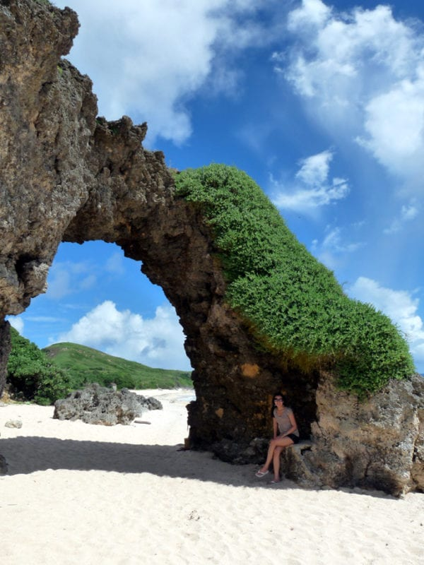Mayahaw arch at Morong Beach, Sabtang against blue skies