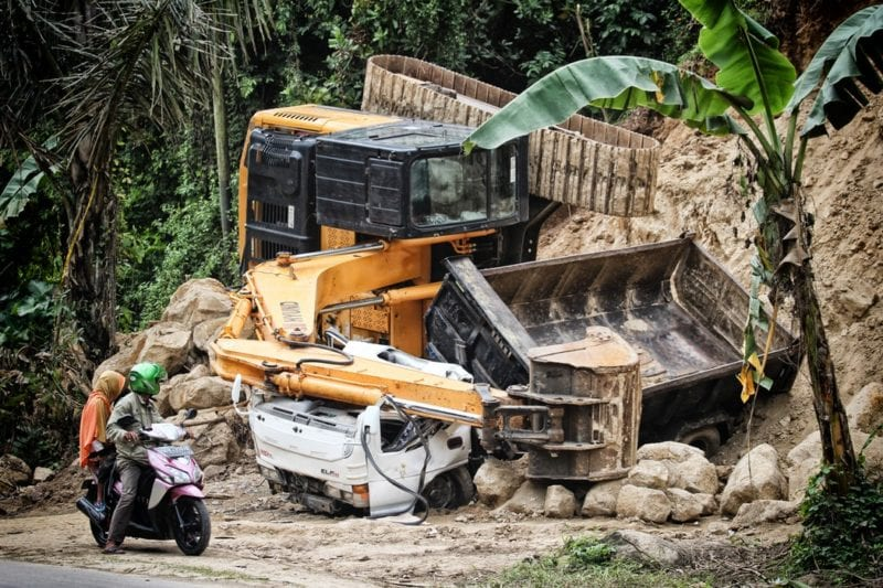 lorry buried by landslide