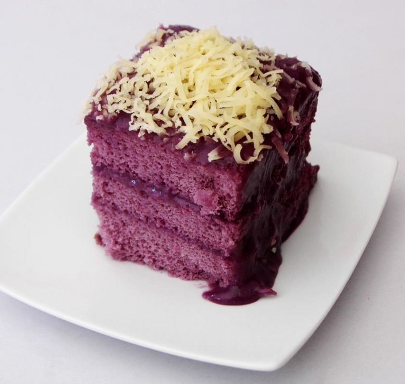 Purple cake on white plate