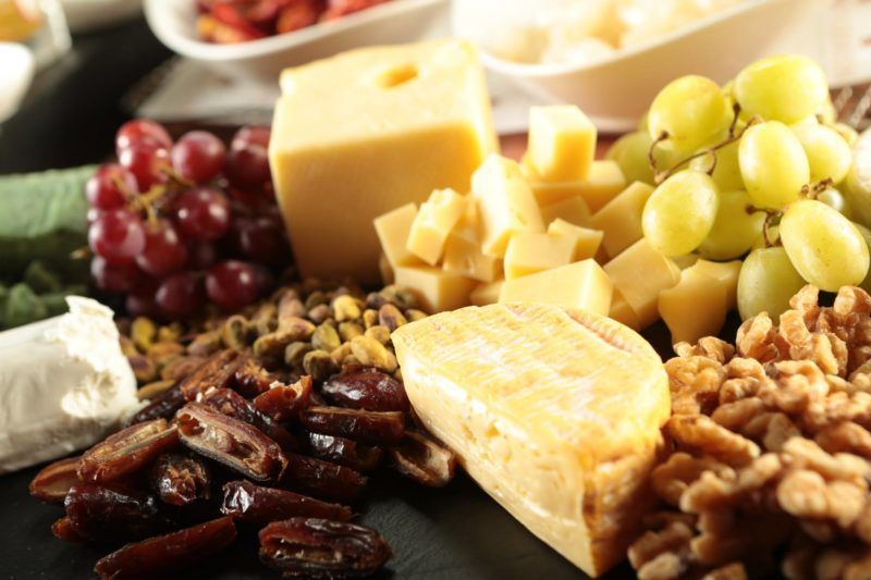 Cheese and dried fruits platter