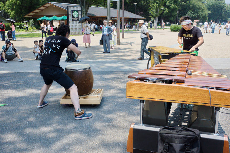 Street performances in park- drummer and musician