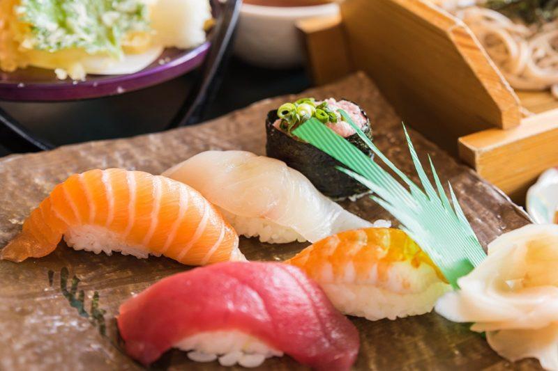 Street food sushi and maki platter