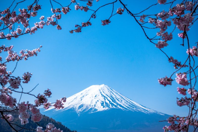 Mt Fuji with blue skies backdrop
