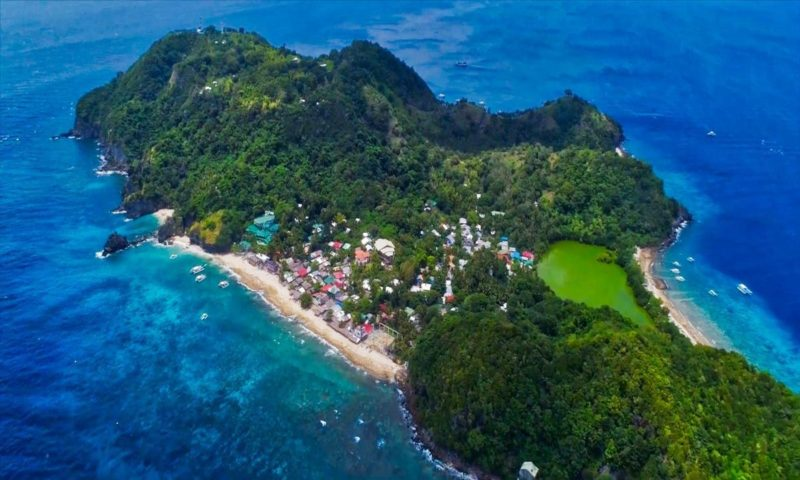 Aerial view of Apo Island from above