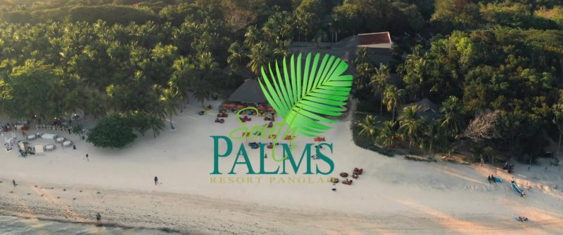 South Palms logo across the beach backdrop