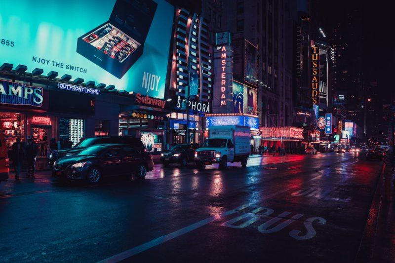 neon street lights