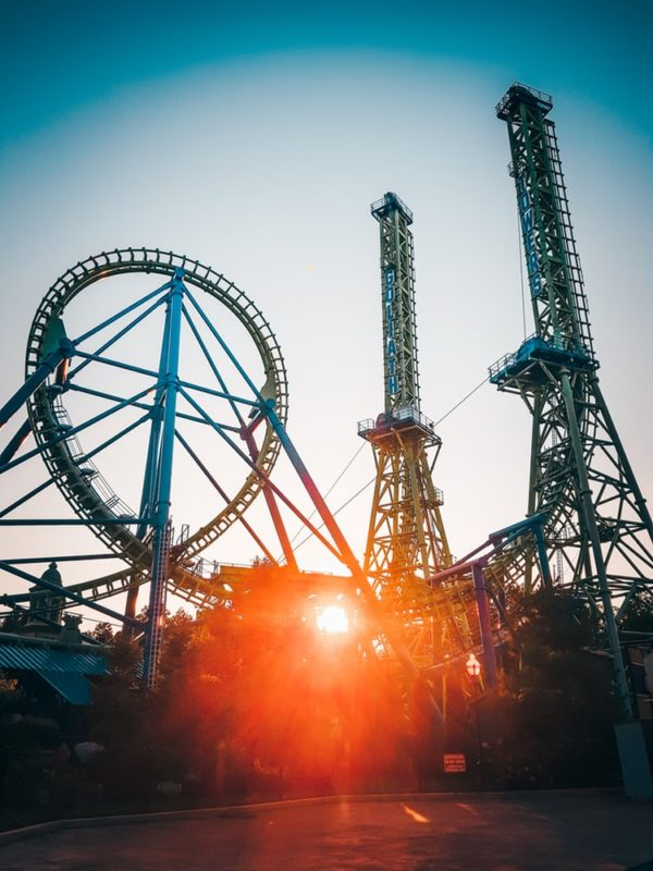crazy roller coaster rides in sunset