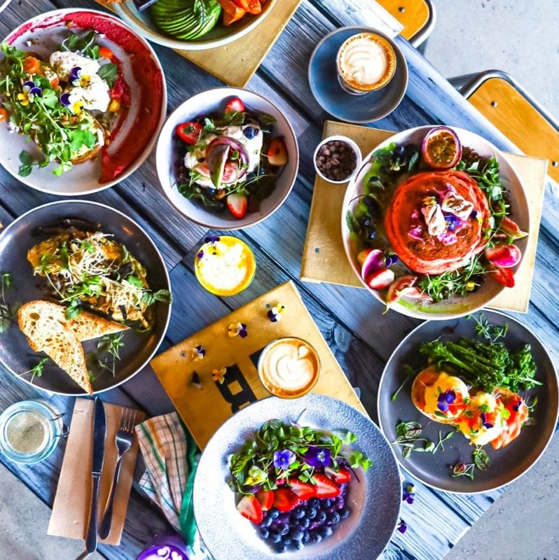 Aerial view of brunch dishes on table