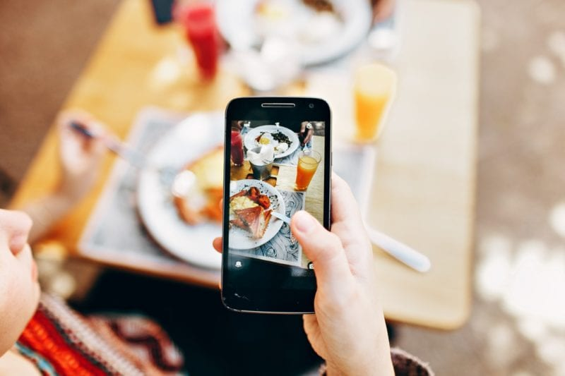 Taking photo with smartphone of the brunch on table
