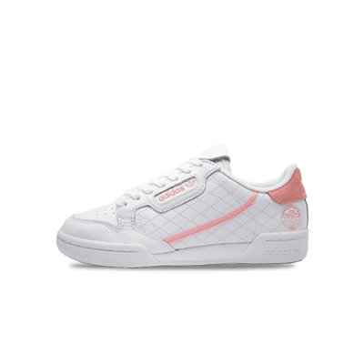 white leather shoes with pink grid details and stripes from adidas