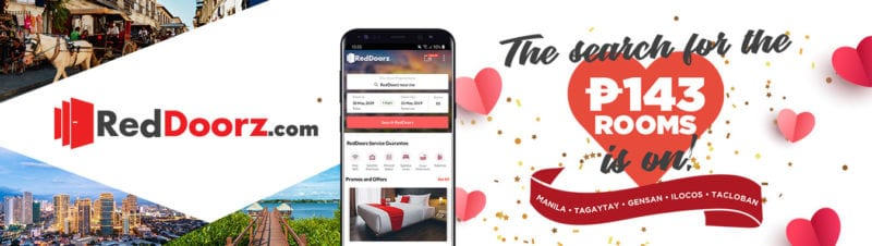 hero landing page banner for RedDoorz Valentine's day campaign with rooms for 143 pesos only