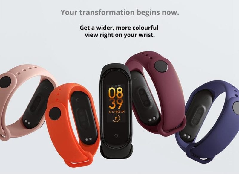 fitness tracker band from China brand Xiaomi in five different colours