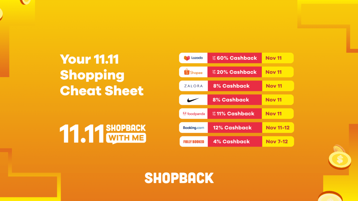 Your cheat sheet to ShopBack's 11.11 mega cashback deals!