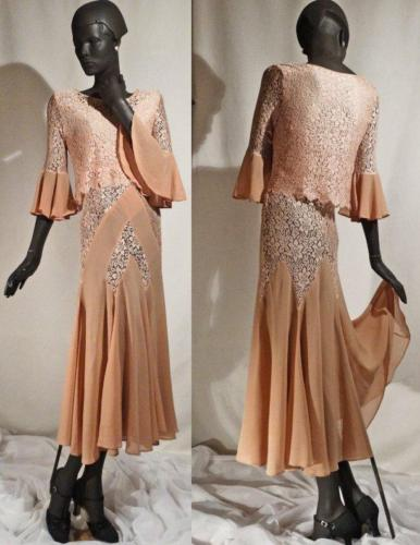 Vintage 1930s Deco Evening Dress Silk Lace and Chiffon Chevron Inserts
