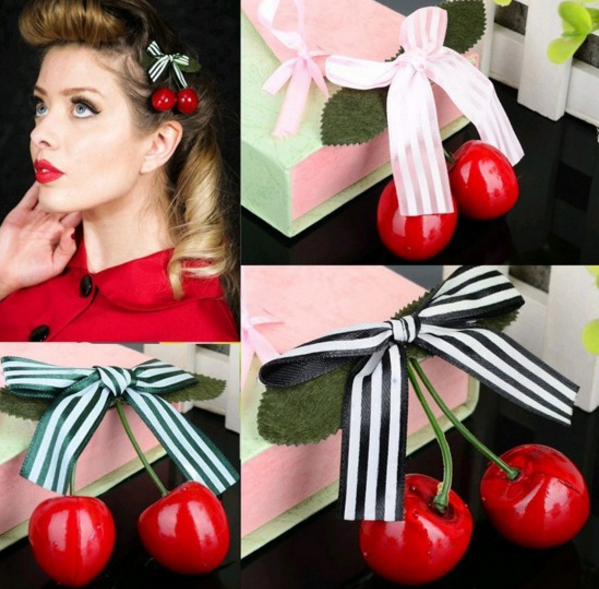 Cherry Bow Hair Clip Pin Up AliExpress