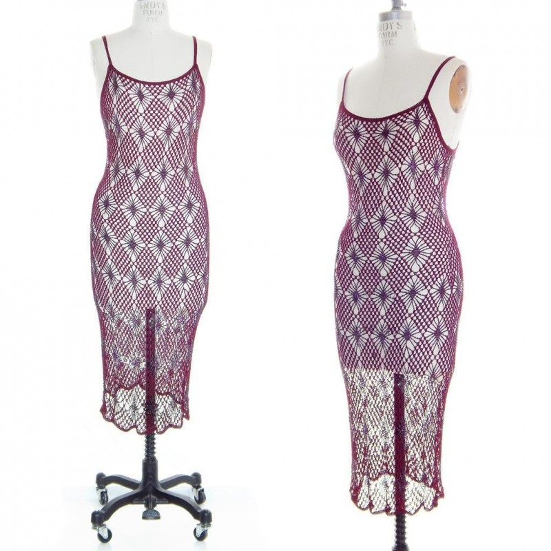 vintage BLOODRED Sheer DIAMOND CROCHET Beaded Flapper 20s Glam DECO GATSBY Dress