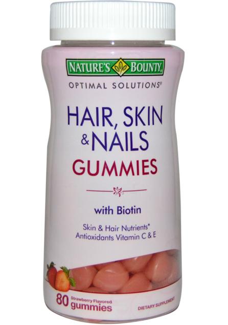 Nature's Bounty, Optimal Solutions, Hair, Skin & Nails Gummies, Strawberry Flavored, 80 Gummies, iHerb