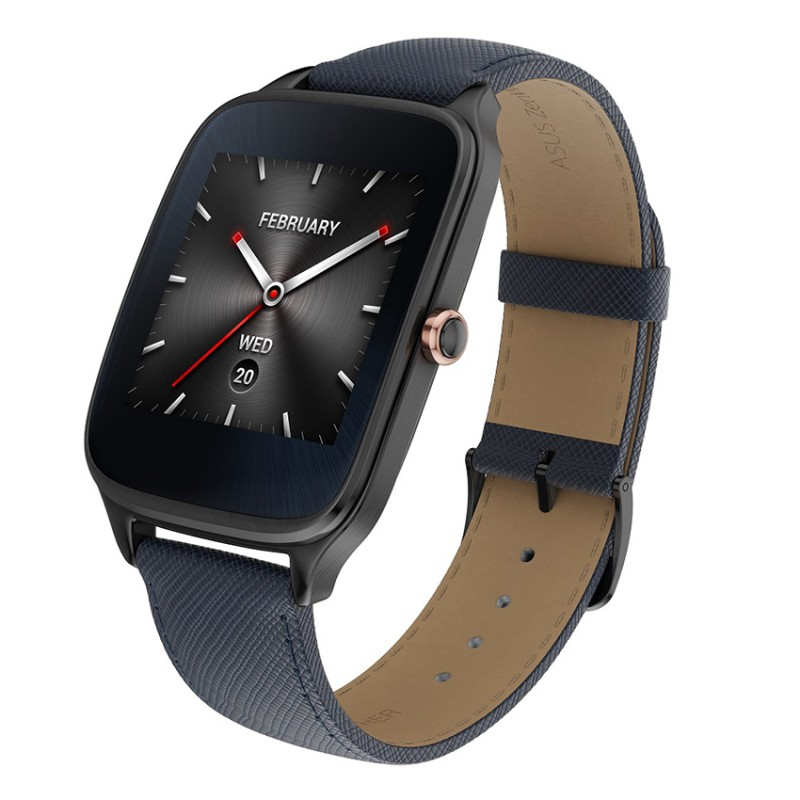Asus ZenWatch 2 Sparrow Gunmetal Blue Leather Strap Date Time Timepiece
