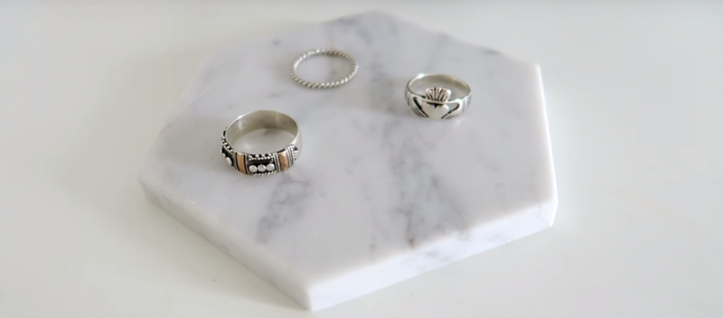 Marble Coaster And Assorted Rings