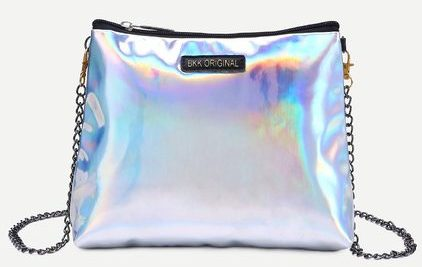 Silver Faux Leather Zip Closure Shoulder Bag With Chain
