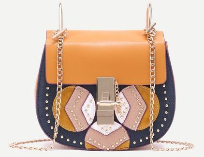 Color Block Geometric Patch Studded Saddle Chain Bag