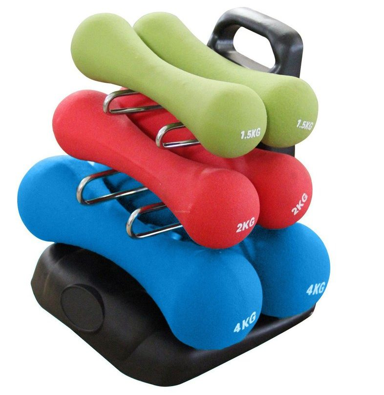 Work on any exercise with this Neoprene Dumbbell Set that even comes with a rack!