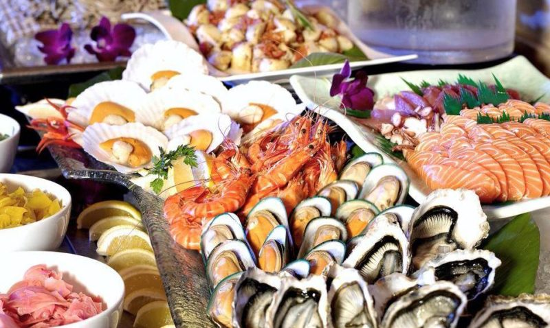 Spread of seafood such as prawns, mussels and oysters