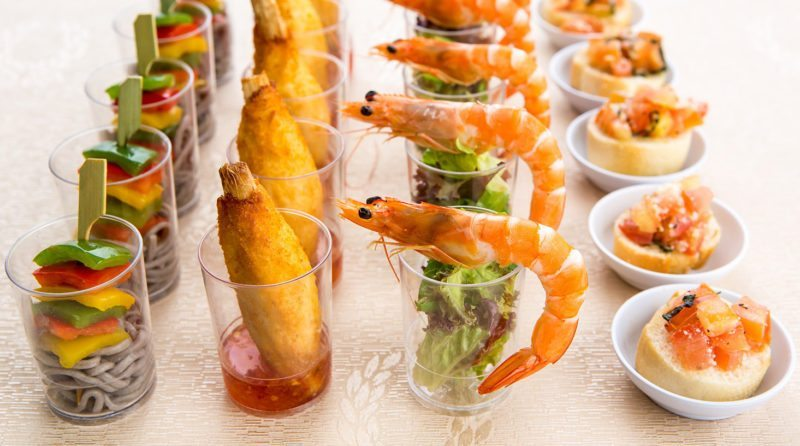 Buffet cup-sized servings at Miramar Hotel