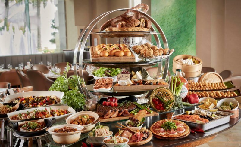 International buffet spread at Town Restaurant