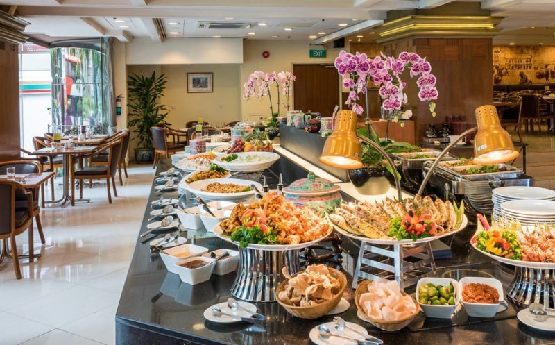 Peranakan buffet spread at Sun Cafe in Hotel Grand Pacific Singapore