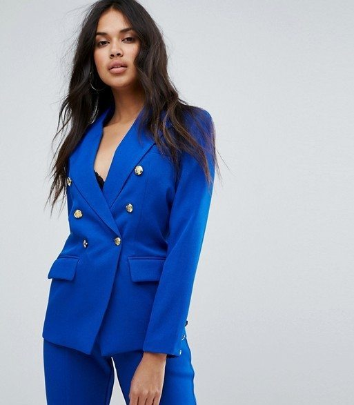 Missguided Gold Button Blazer in Blue