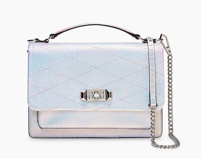 Rebecca Minkoff's Je T'aime Medium Crossbody bag in opal iridescent