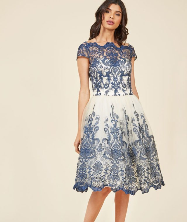 Chi Chi London Exquisite Elegance Lace Dress in Navy on ModCloth