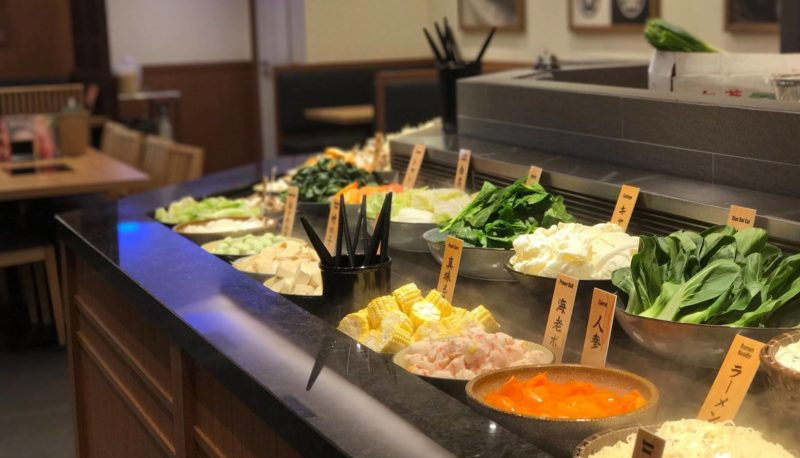 Shabu Sai's assortment of vegetables to choose from