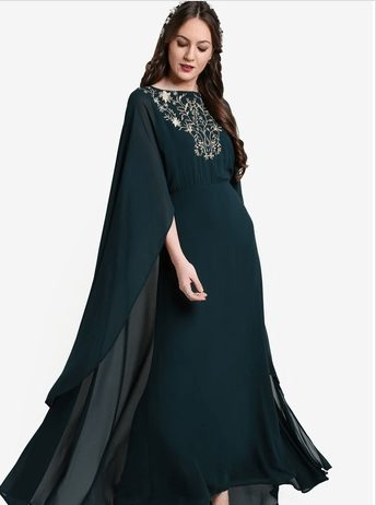 Zalia Floral Embroidery Cape Dress in Green