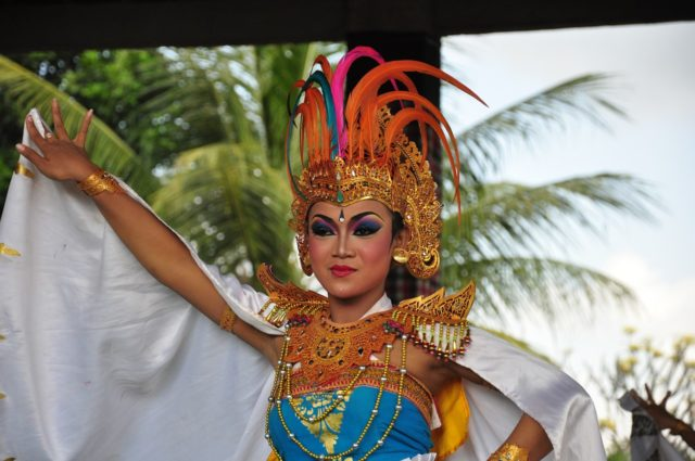 Bali dancer close up shot while dancing