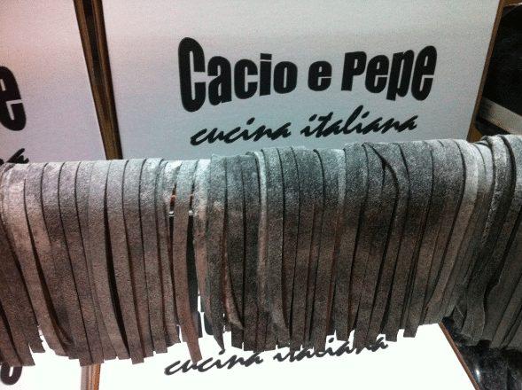 Squid ink tagliatelle Cacio e Pepe