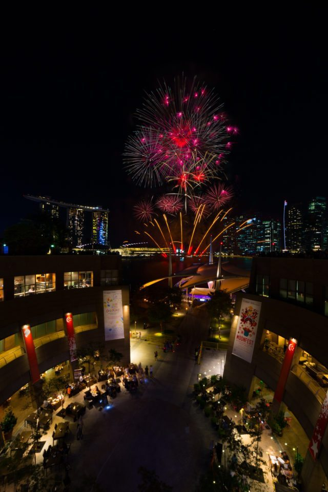 Singapore National Day Fireworks at Esplanade Roof Terrace